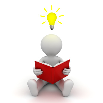 3d man sitting on the floor and reading a book with idea bulb